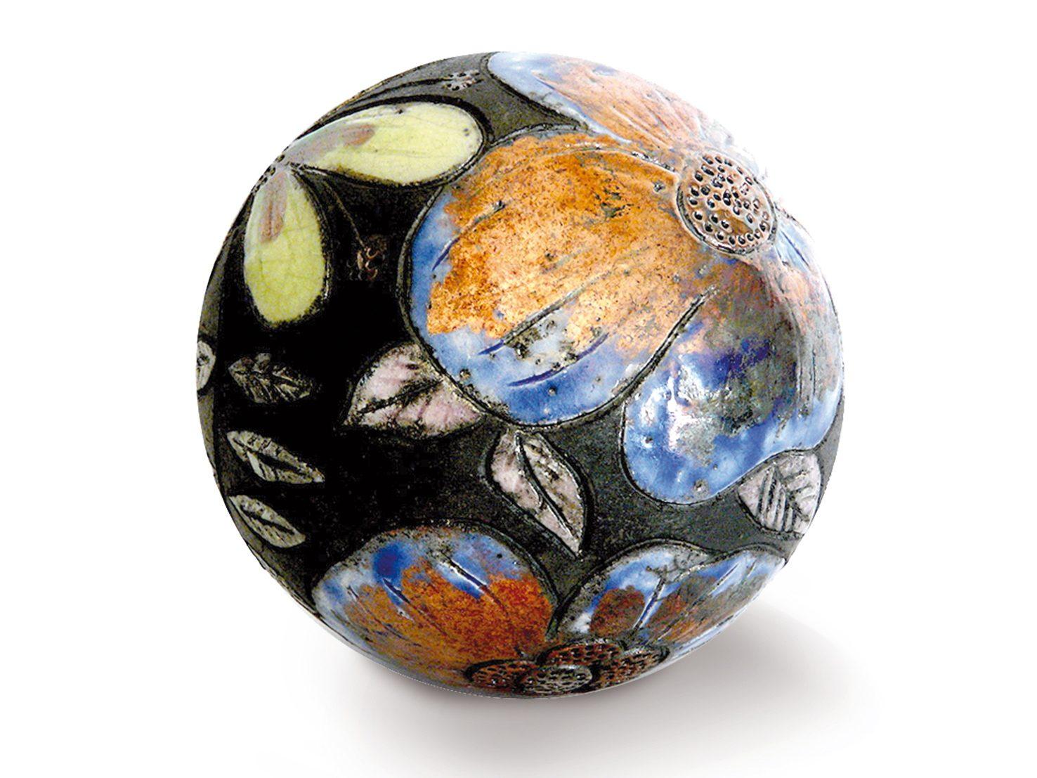 Moon d'hiver - ø : 14 CM - Grès -Raku - Gravure et relief - Nitrate d'argent - Oxydes - Sculptures céramique de Florence Lemiegre