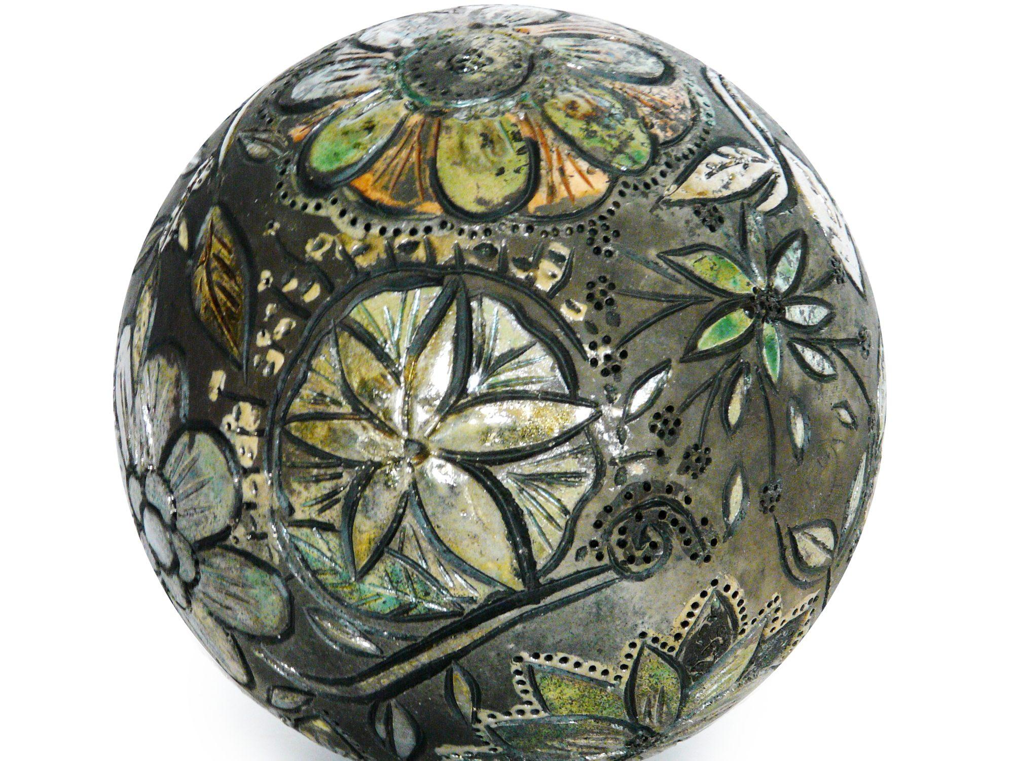 Moon d'automne - ø : 18 CM - Grès - Raku -Gravure - Nitrate d'argent - Oxydes - Sculptures céramique de Florence Lemiegre