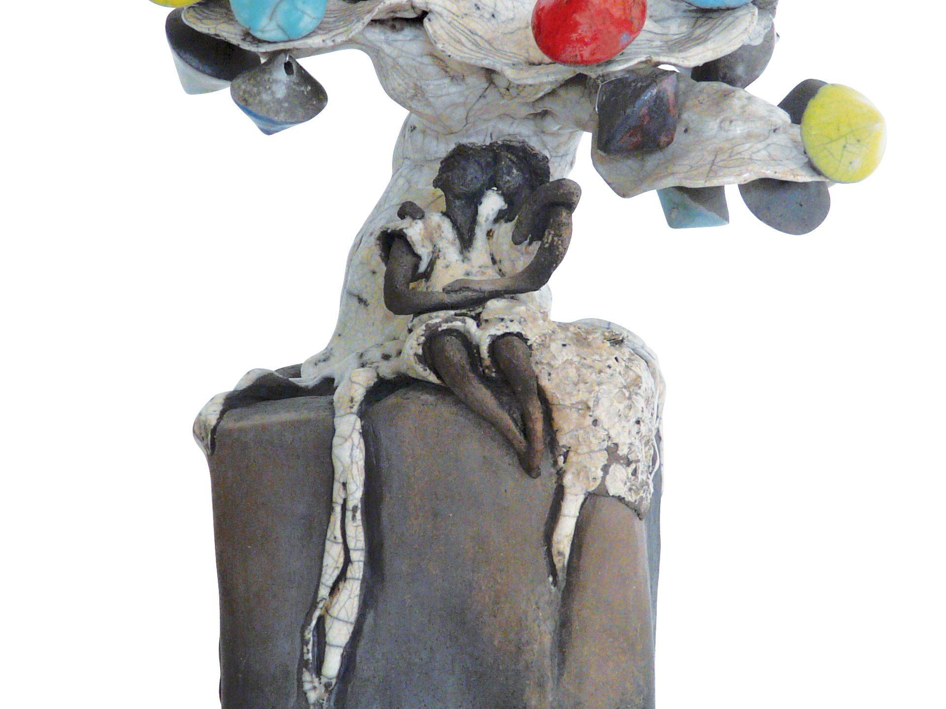 Rendez-vous sous le Culbutotier en fleurs - Grès - Raku - Sculptures céramique de Florence Lemiegre