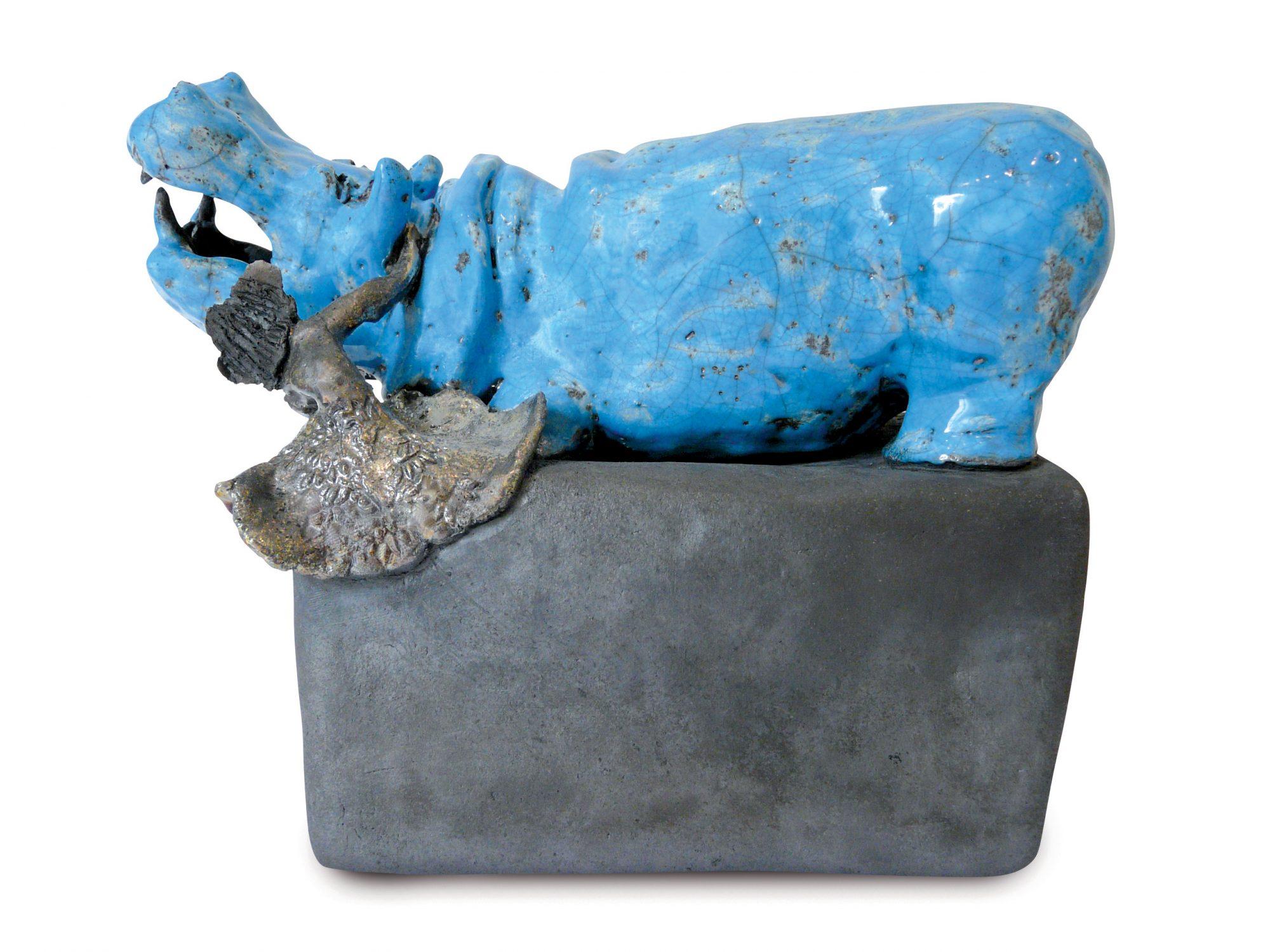 Le baiser exotique - Grès - Raku - Sculptures céramique de Florence Lemiegre