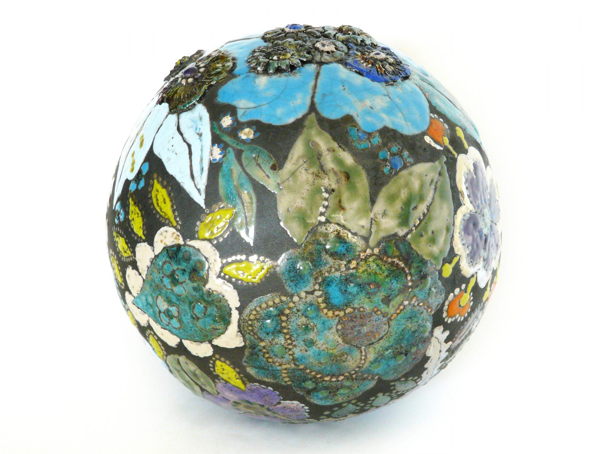 Moon de printemps - ø : 24 cm - Grès - Raku - Relief - Oxydes - Sculptures céramique de Florence Lemiegre