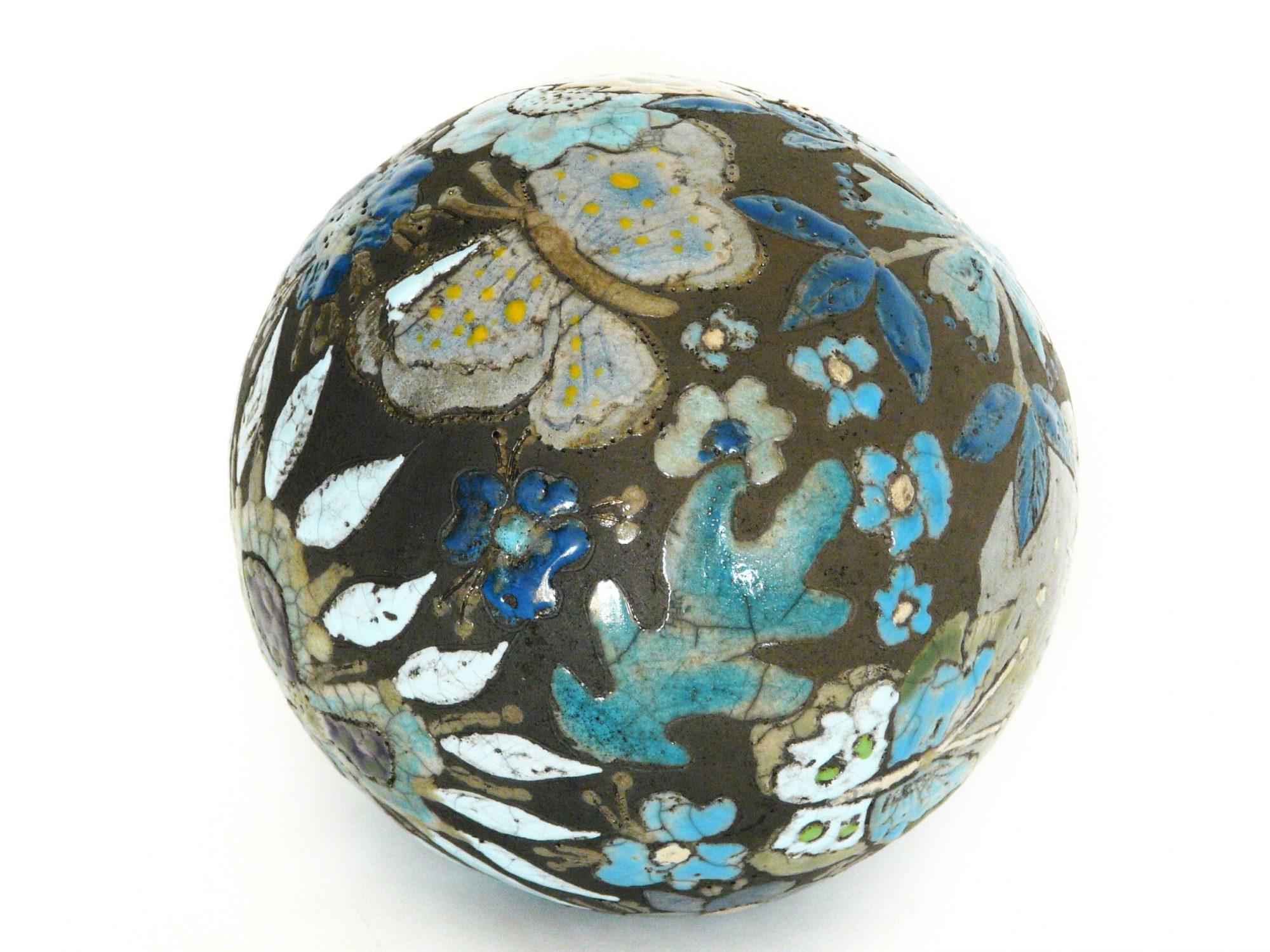 Moon de printemps - ø : 14 cm - Grès - Raku – Gravure - Sculptures céramique de Florence Lemiegre