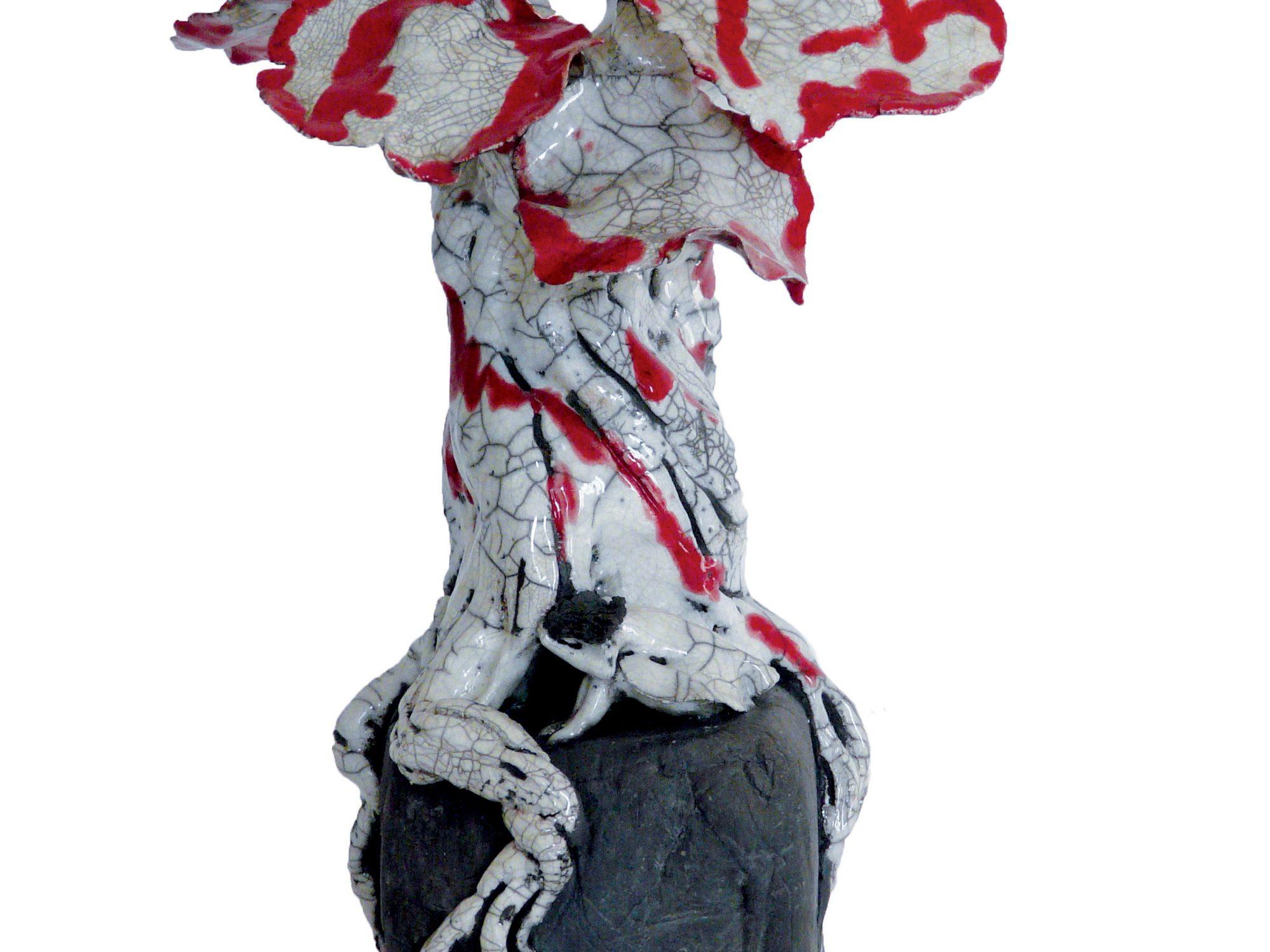 Tristesse infinie sous l'Ensanglanté - Grès - Raku - Sculptures céramique de Florence Lemiegre