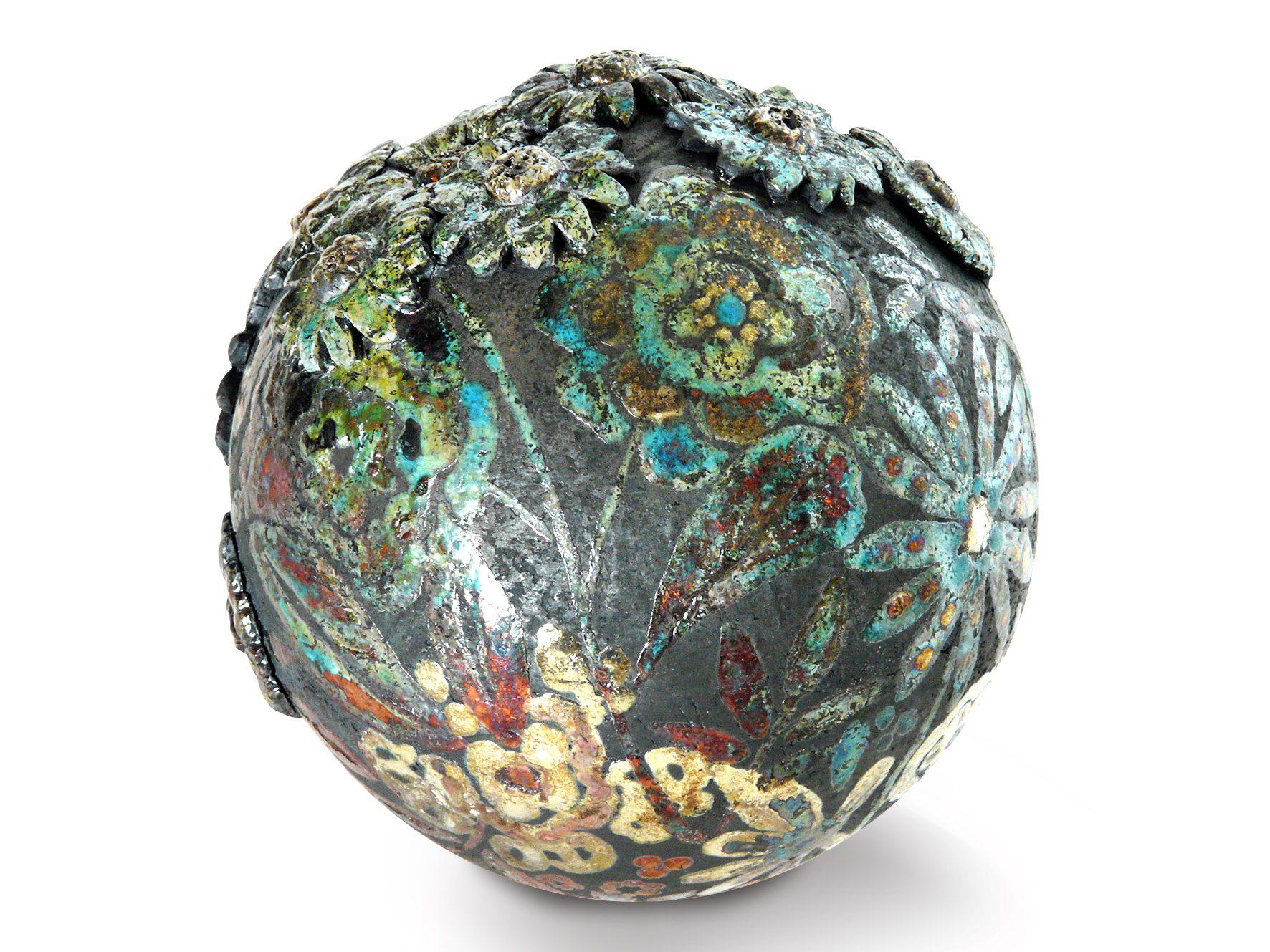 Moon d'hiver - ø : 14 cm - Grès - Raku - Nitrate d'argent - Oxydes - Sculptures céramique de Florence Lemiegre