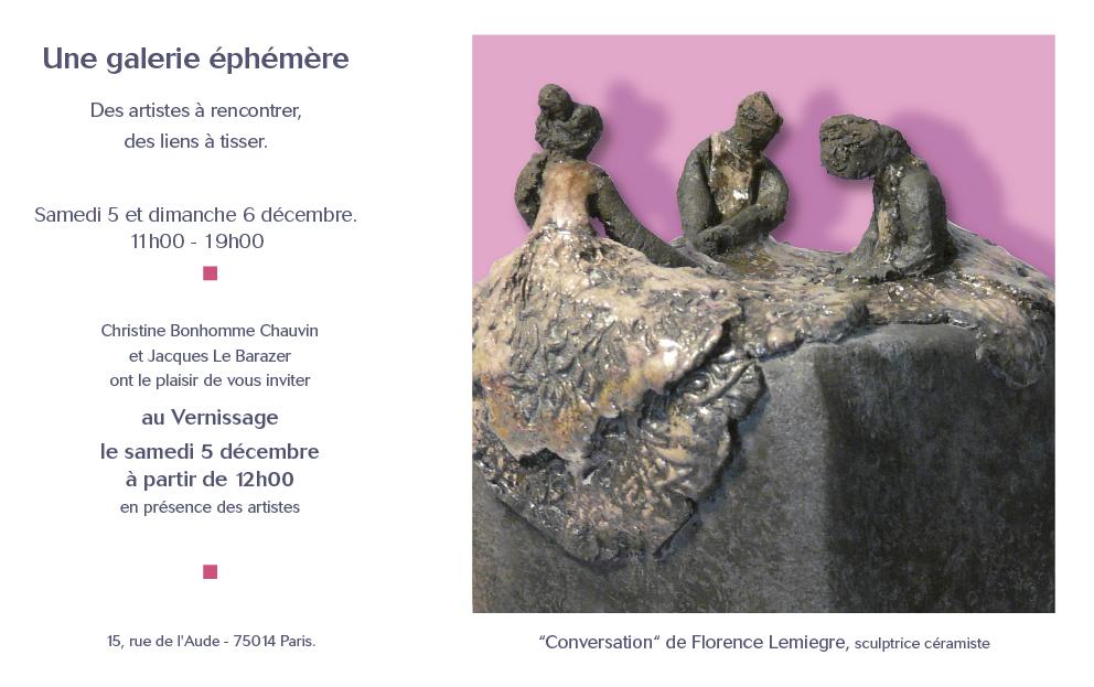 Galerie éphémère - Paris - Sculptures Céramique de Florence Lemiegre