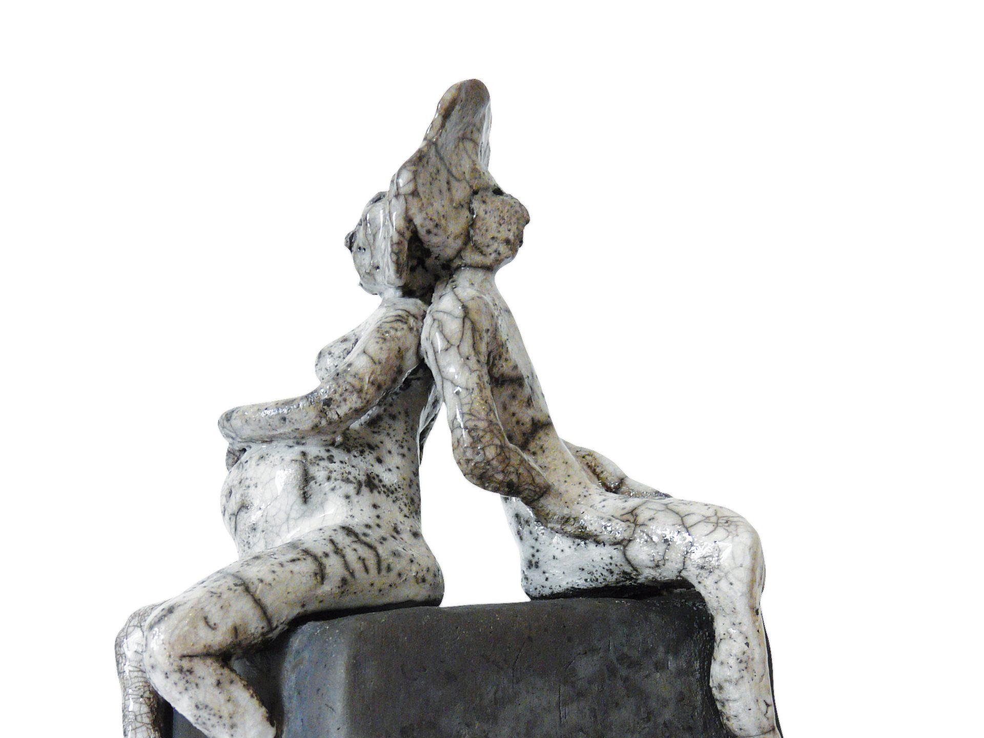 Hime et Tono, l'attente - Grès - Raku - Sculptures céramique de Florence Lemiegre