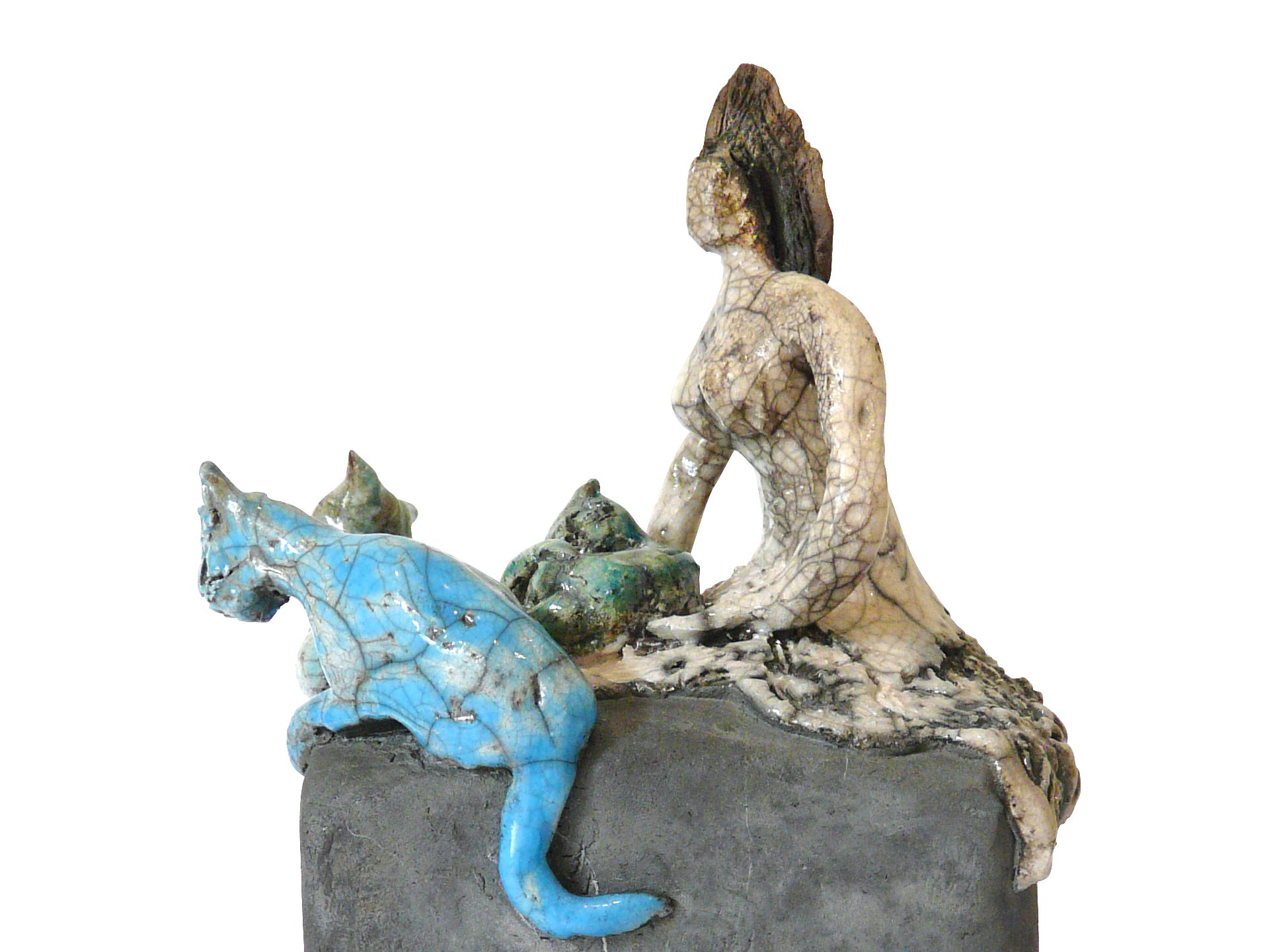 La dompteuse de chats - Grès - Raku - Sculptures céramique de Florence Lemiegre