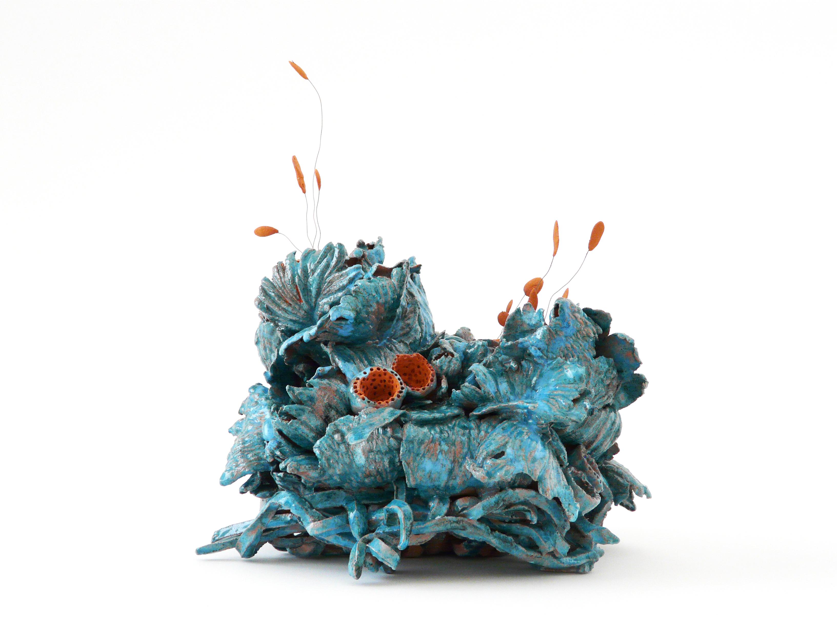 """Noli me tangere """"Pistils"""" - Tiffany Blue - 2020 - Sculpture céramique contemporaine - Œuvre de Florence Lemiegre - Sculptrice céramiste"""