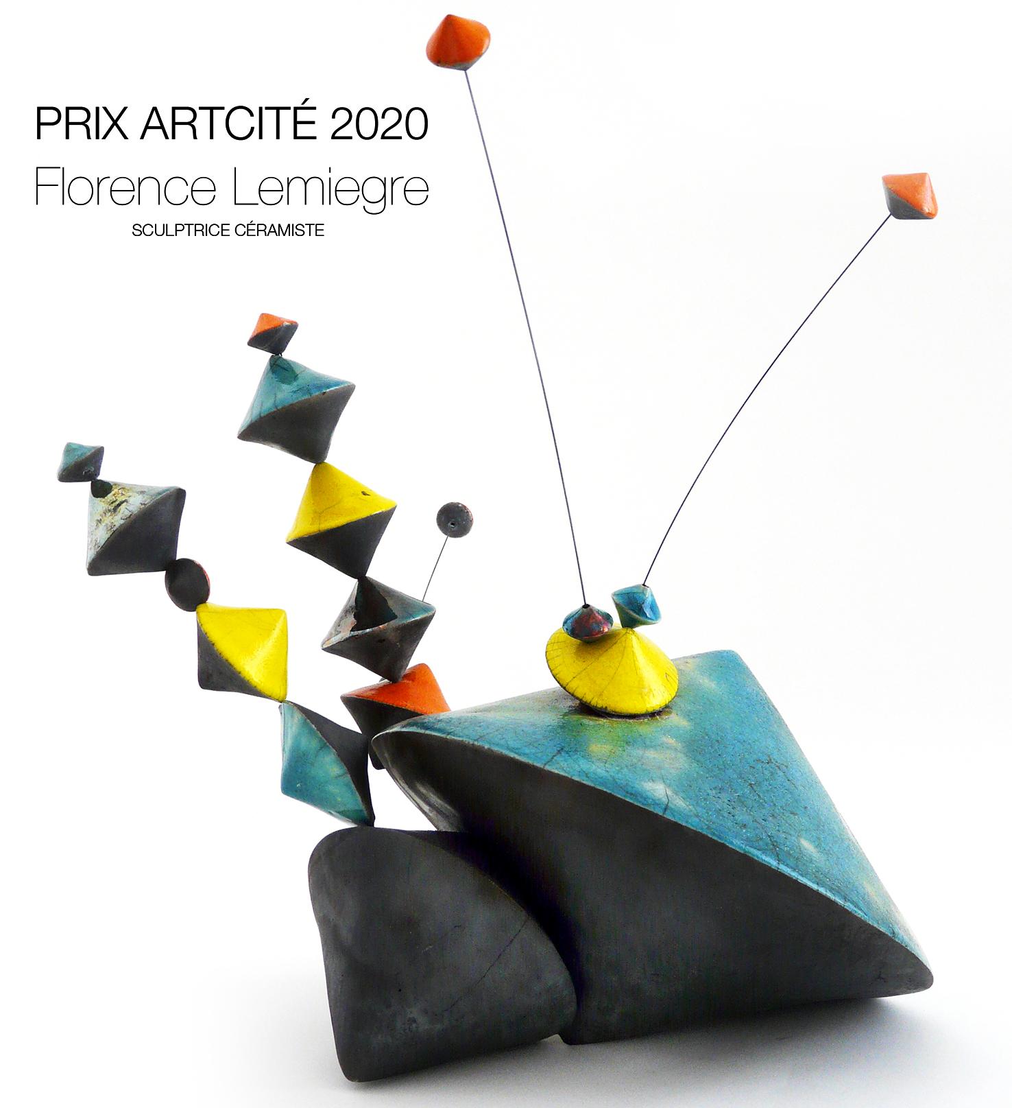 """Prix Arcité 2020-Exposition """"Instincts"""" Artcité 2020 à Fontenay-sous-Bois - """"Culbutos Serendipity - Enjoy"""" - Sculpture céramique de Florence Lemiegre"""