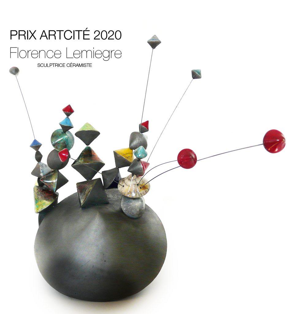 """Prix Arcité 2020-Exposition """"Instincts"""" Artcité 2020 à Fontenay-sous-Bois - """"Culbutos Serendipity - Mélodies"""" - Sculpture céramique de Florence Lemiegre"""