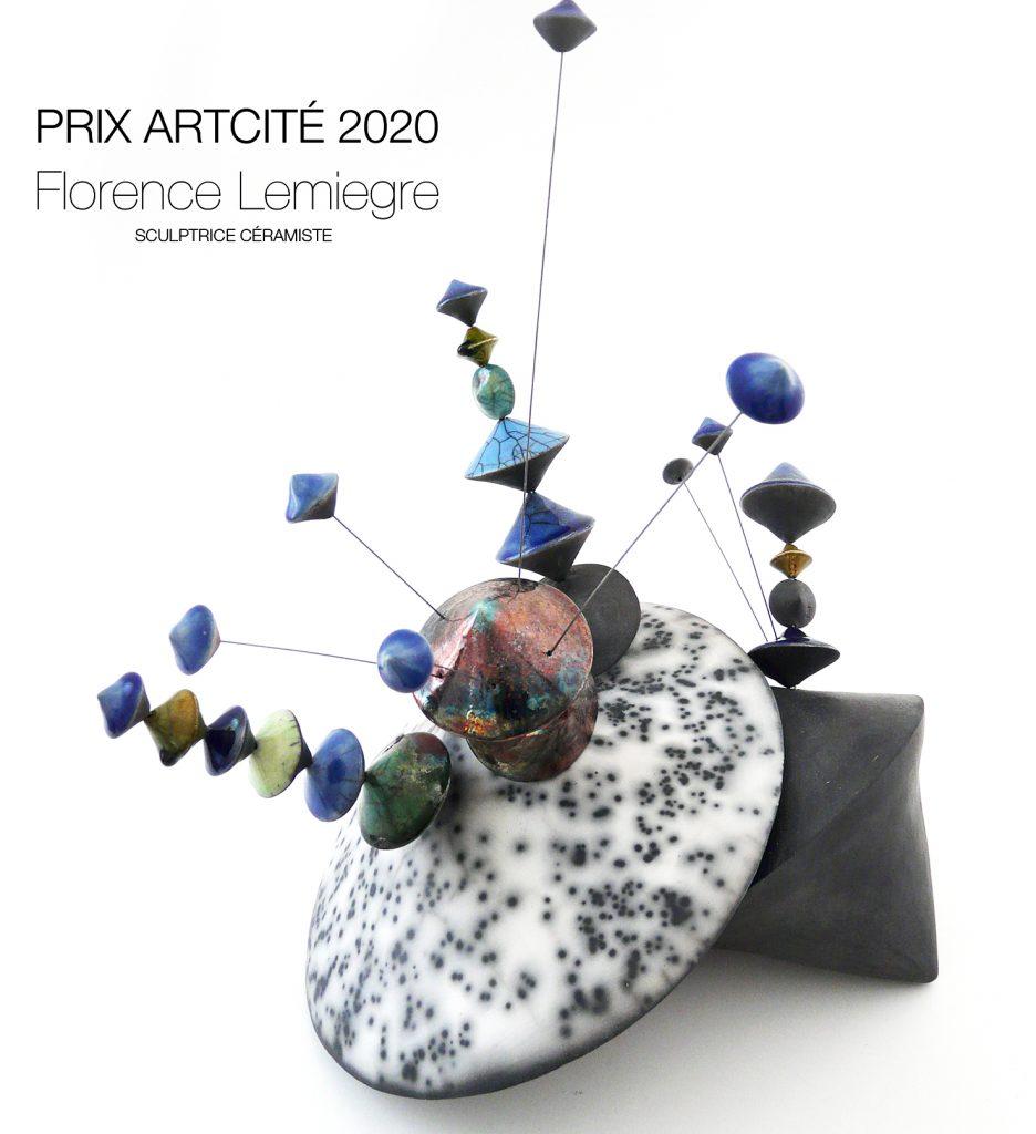 """Prix Arcité 2020-Exposition """"Instincts"""" Artcité 2020 à Fontenay-sous-Bois - """"Culbutos Serendipity - Mystery bloom"""" - Sculpture céramique de Florence Lemiegre"""