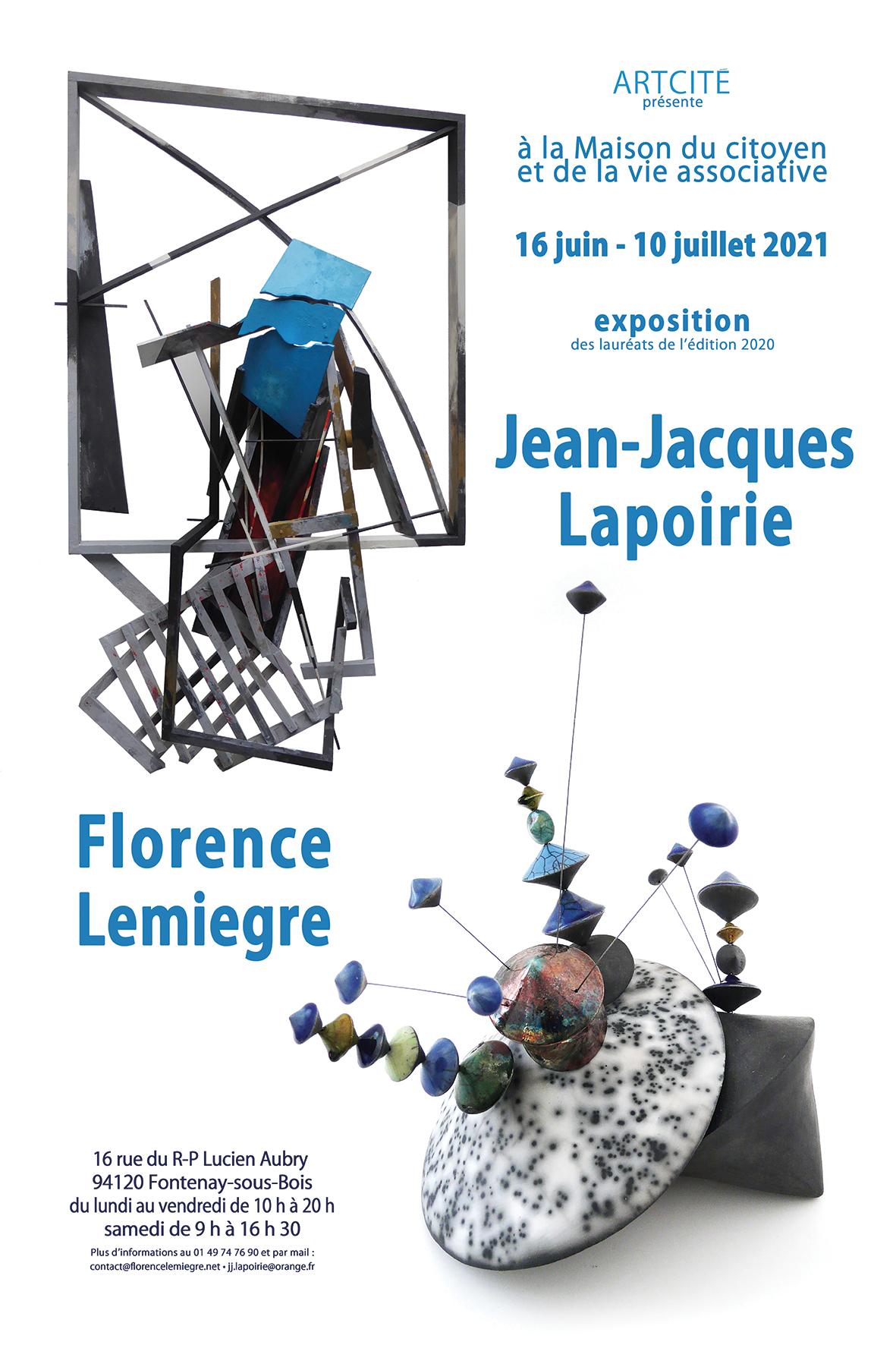 Affiche EXPOSITION JEAN-JACQUES LAPOIRIE & FLORENCE LEMIEGRE - LAURÉATE SCULPTURE ARCITÉ 2020 - MAISON DU CITOYEN FONTENAY-SOUS-BOIS- 15 AU 10 JUILLET 2021