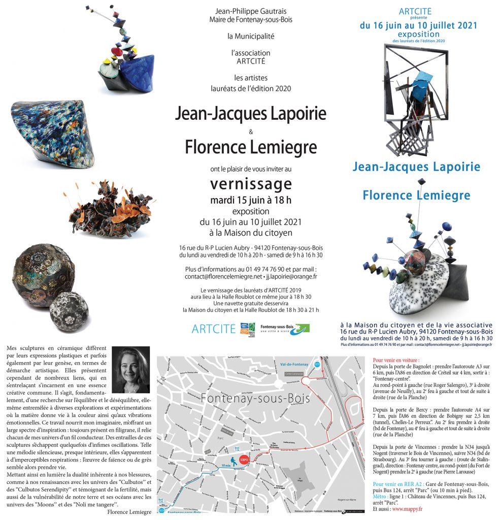 EXPOSITION JEAN-JACQUES LAPOIRIE & FLORENCE LEMIEGRE - LAURÉATE SCULPTURE ARCITÉ 2020 - MAISON DU CITOYEN FONTENAY-SOUS-BOIS- 15 AU 10 JUILLET 2021 - ŒUVRES DE FLORENCE LEMIEGRE-SCULPTRICE CÉRAMISTE